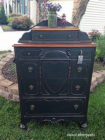 custom black dresser w/walnut stain