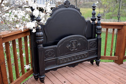 antique bed with beautiful details