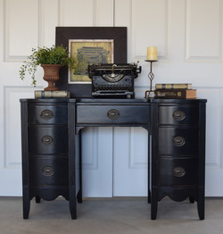 antique desk in lamp black