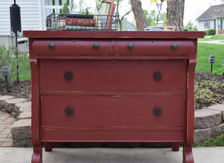 auction buffet in tuscan red milk paint
