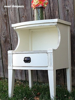 antique nightstand - snow white