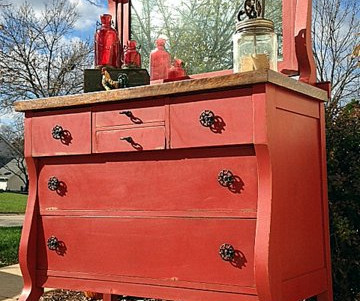 before & after: brick red empire dresser