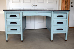persian blue desk with stain