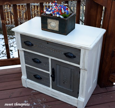 two toned country cabinet