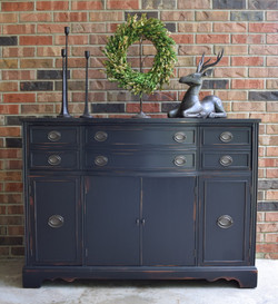 distressed buffet in lamp black