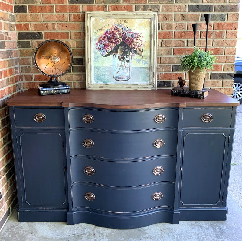 navy buffet with nutmeg stain