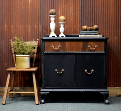 black buffet with antique walnut