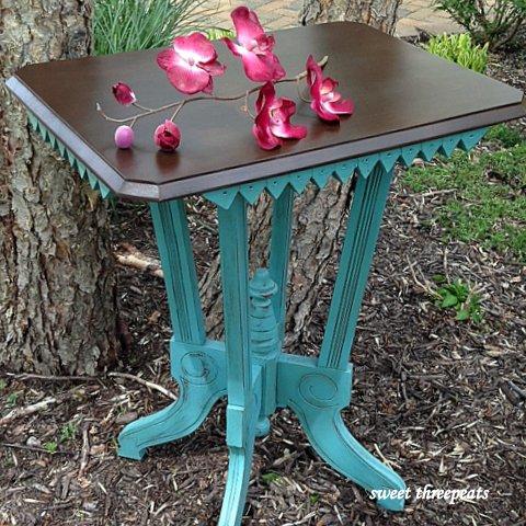 custom turquoise w/walnut stain