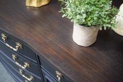 details - black wash over antique walnut