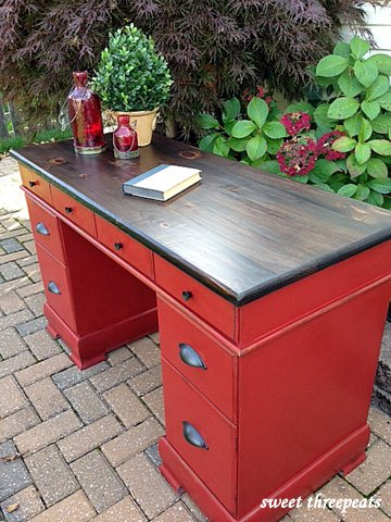 brick red & java gel stain desk