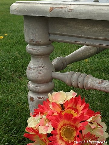 weathered table in french linen