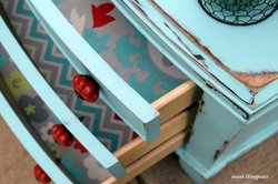 spa blue dresser with liners