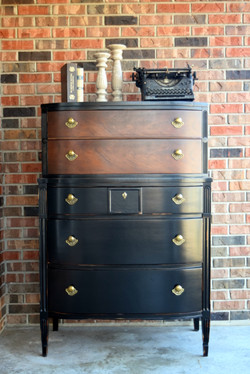 curved front antique dresser