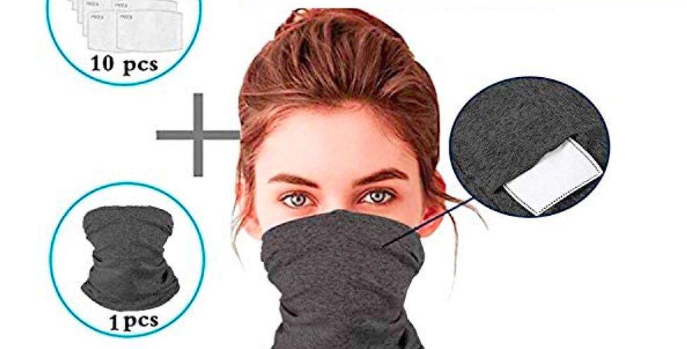 Dark Grey Cloth Bandana Neck Gaiter Face Mask + PM2.5 Charcoal Filters