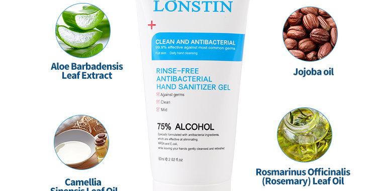 5 Pack of LONSTIN 75% Alcohol HAND SANITISER GEL   5 x 60ml Tube
