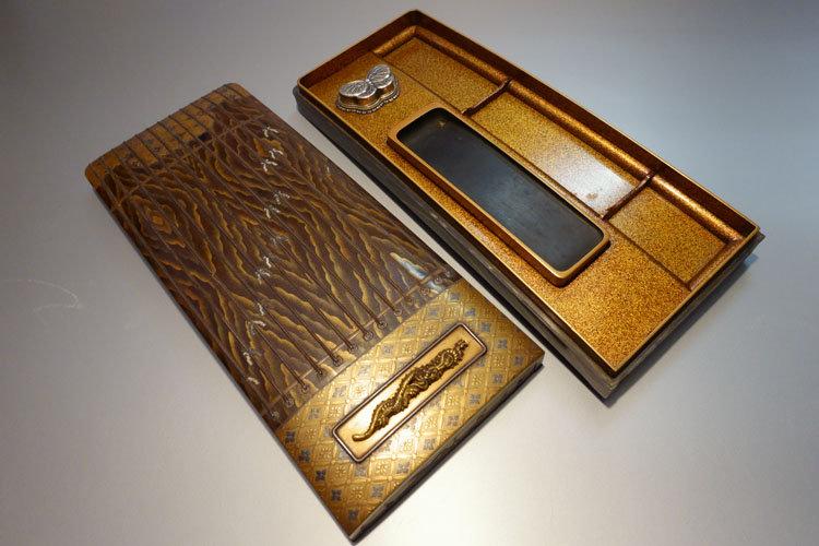 時代蒔絵 琴形硯箱