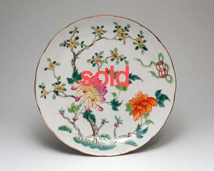粉彩花文中皿 7寸 清朝 中国陶器