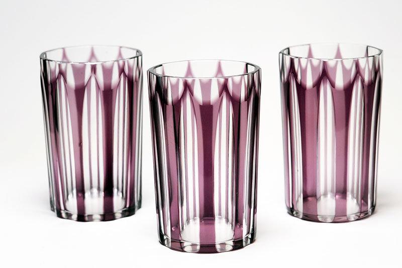 切子ガラスコップ 紫被せガラス ストライプ 昭和初期