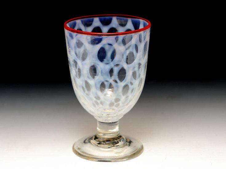 明治 大正のガラス 縁赤乳白水玉模様のコップ 氷コップ