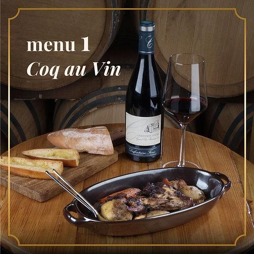 MENU 1 - Coq au Vin (2 pessoas)