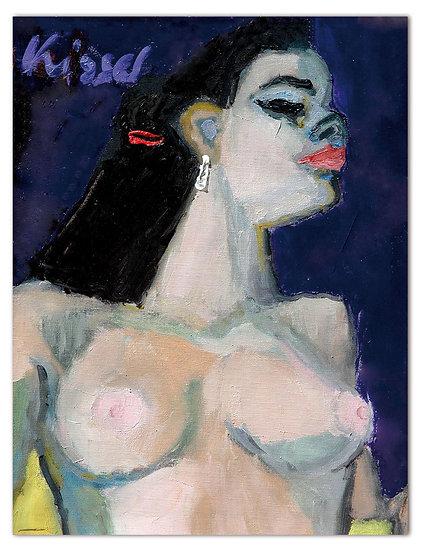 Gernot Kissel   Frau in lila   50 x 60 cm   Öl auf Leinwand