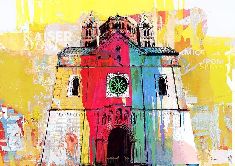 Kaiserdom Speyer gelb, Kunstdruck, Kunst, Online kaufen, dekoration, speyer, modern, abstrakt, online kaufen, Wandbilder,