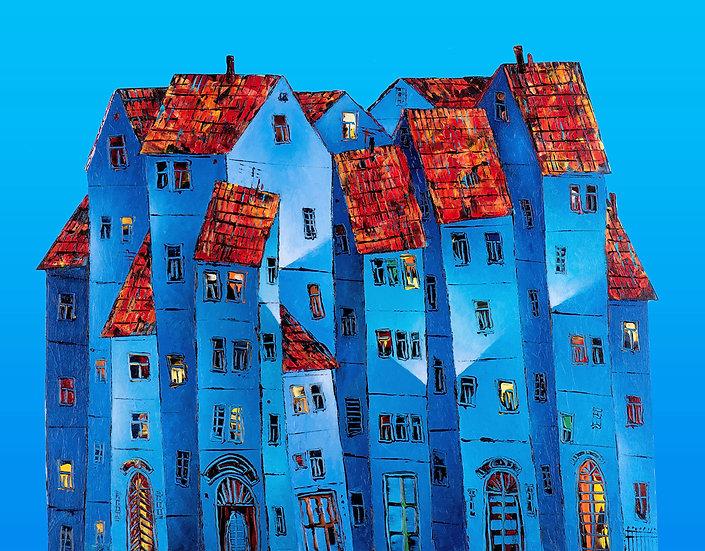 Vladimir Smahtin, Blaues Haus, Kunstdruck, Kunst, Online kaufen