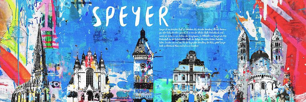 Speyer Sehenswürdigkeiten blau, Kaiserdom, Altpörtel, Kunstdruck, Kunst, Online kaufen