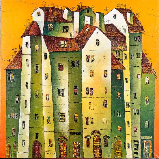 Vladimir Smahtin, Grünes Haus, Öl auf Leinwand, Kunst, Online kaufen