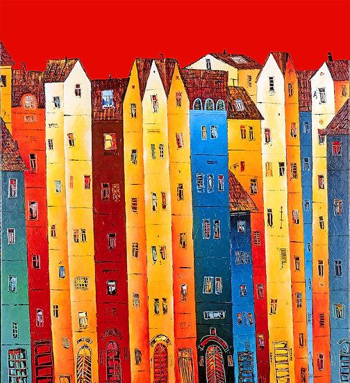 Vladimir Smahtin, Buntes Haus, Kunstdruck, Kunst, Online kaufen