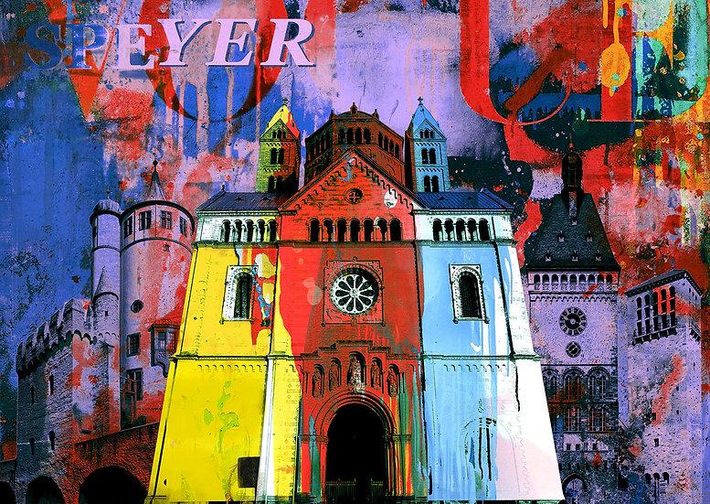 Kaiserdom Speyer lila, Kunstdruck, Kunst, Online kaufen
