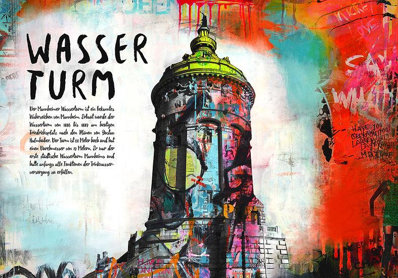 Wasserturm Mannheim Quer, Kunstdruck, Kunst, Online kaufen