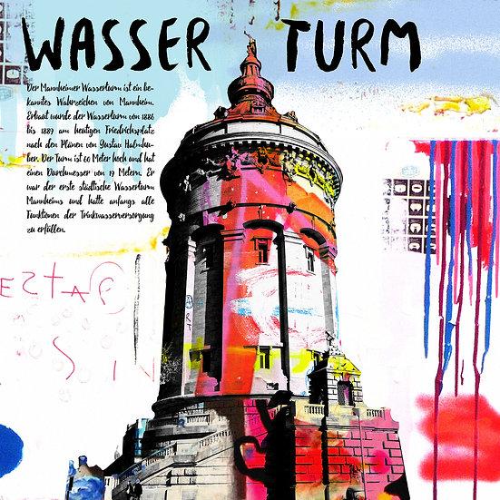 Wasserturm Mannheim weiss, Kunstdruck, Kunst, Online kaufen