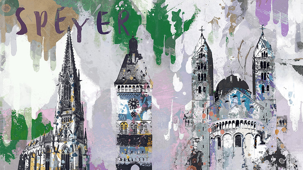 Speyer Sehenswürdigkeiten fieder, Kaiserdom, Altpörtel, Gedächtniskirche, Kunstdruck, Kunst, Online kaufen