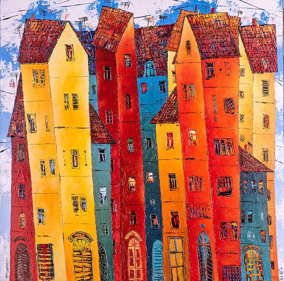 Vladimir Smahtin, Bunte Häuser, Öl auf Leinwand, Kunst, Online kaufen