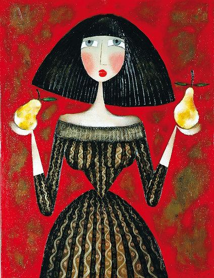 Vladimir Smahtin, Frau mit Birnen, Öl auf Leinwand, Kunst, Online kaufen