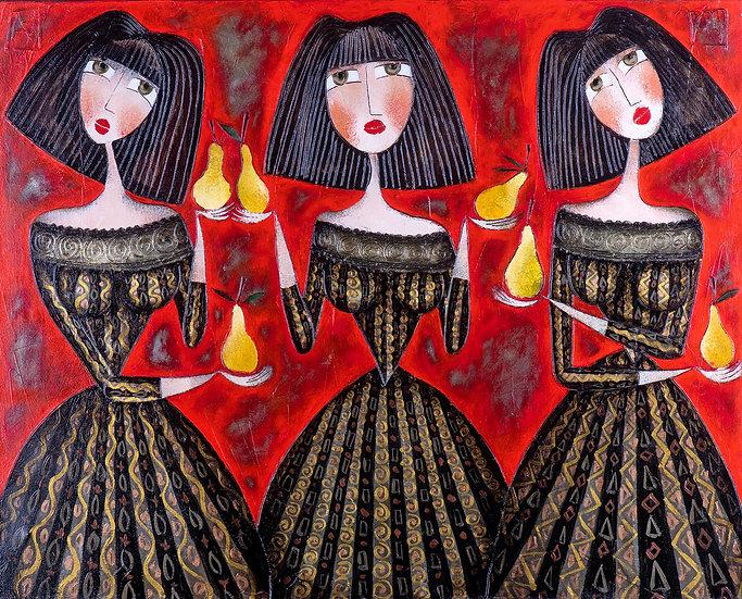 Vladimir Smahtin, 3 Frauen mit Birnen, Öl auf Leinwand, Kunst, Online kaufen