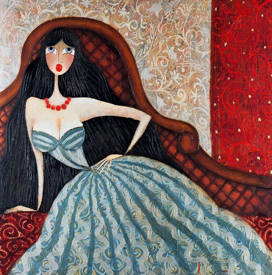 Vladimir Smahtin, Frau in blau auf Sessel, Öl auf Leinwand, Kunst, Online kaufen