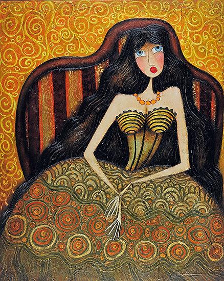 Vladimir Smahtin, Frau in Sessel, Öl auf Leinwand, Kunst, Online kaufen