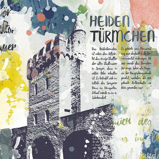 Heidentürmchen Speyer Vintage, Kunstdruck, Kunst, Online kaufen