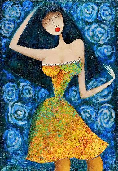 Vladimir Smahtin, Frau in gelb, Öl auf Leinwand, Kunst, Online kaufen