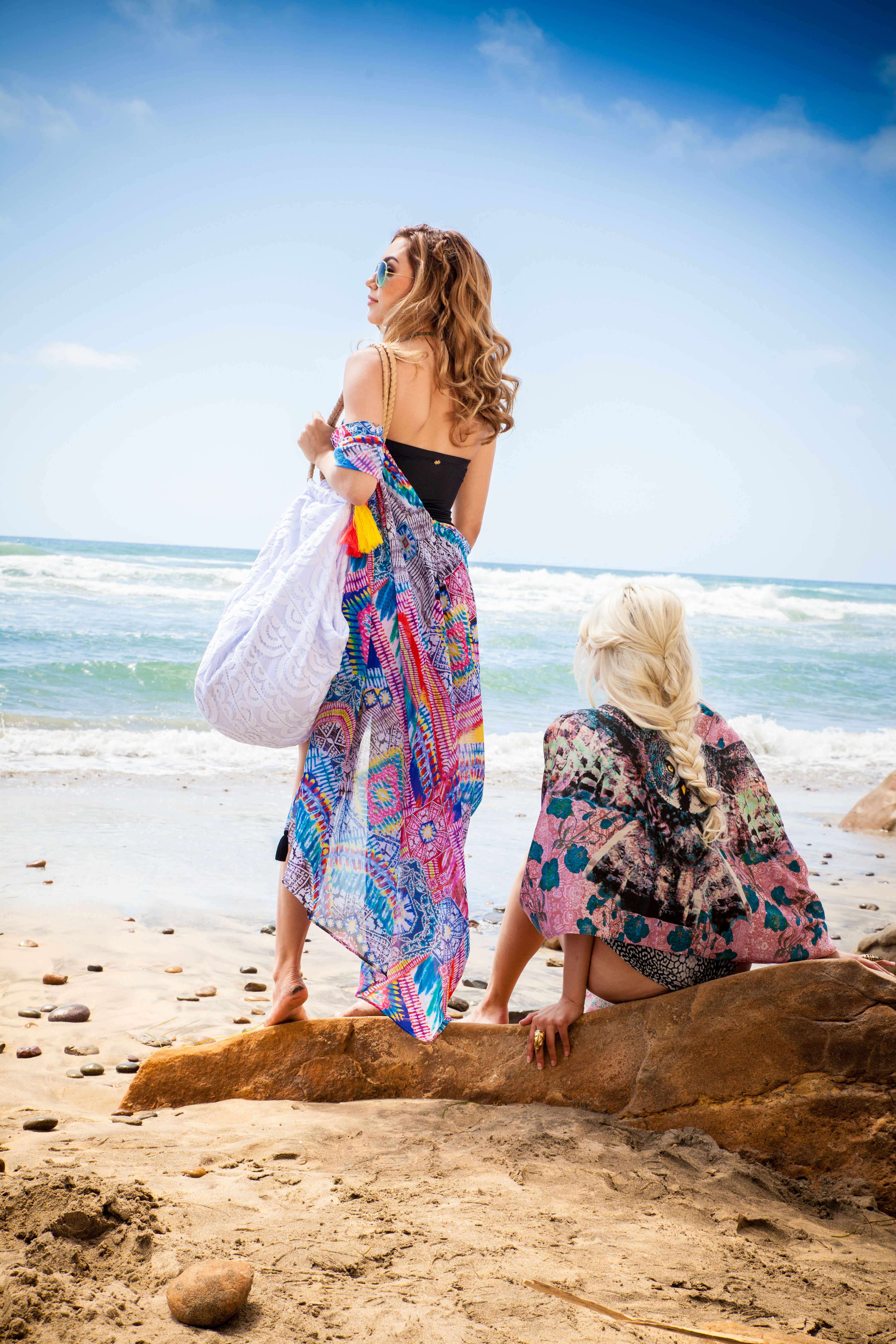 two women looking away
