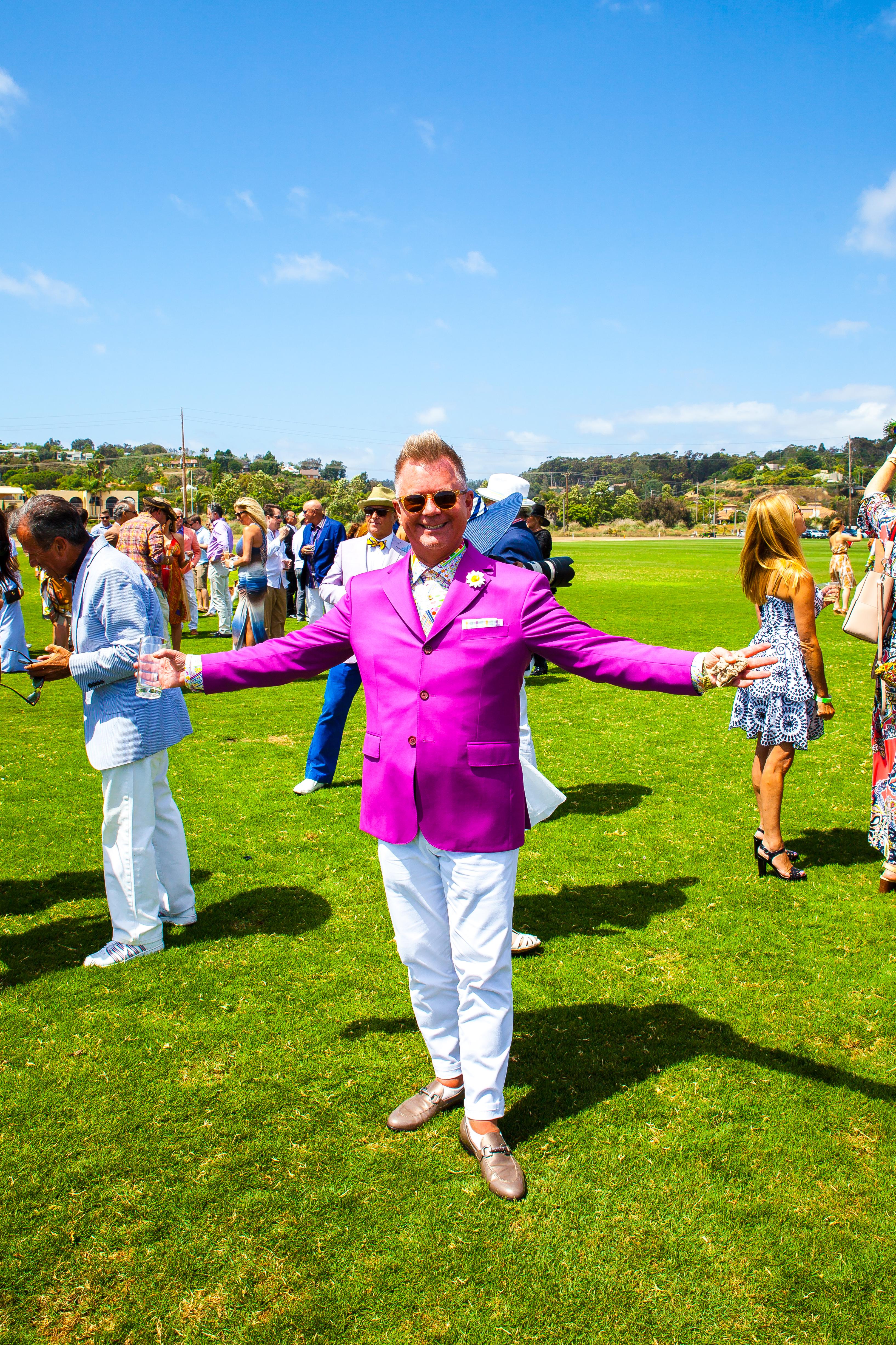 men in pink suit