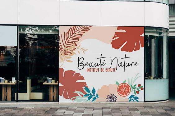 Institut de Beauté - Lardy - Beauté Nature, vitrophanie enseigne, Printemps 2020