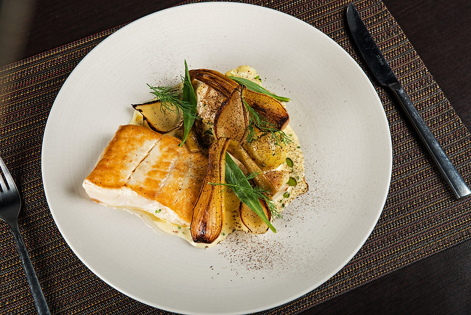 Braised halibut, Jersey royals, smoked haddock, onion, pepper dulse.