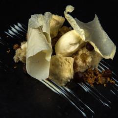 Yeast ice cream, hot milk cake, milk parfait, date puree and milk skin crisp