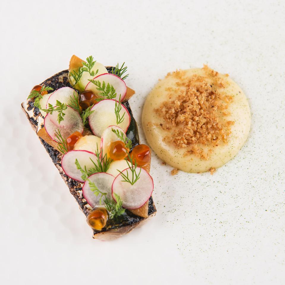 Soused Scottish mackerel, apple gel, smoked bacon emulsion, bacon crumbs, pickled kohlrabi and fresh garden radishes.
