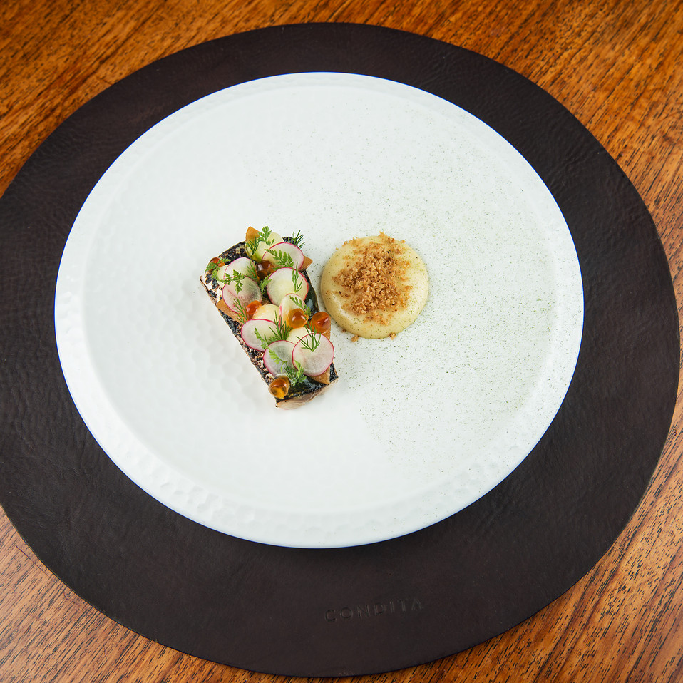 Soused Scottish mackerel, apple gel, smoked bacon emulsion, bacon crumbs, pickled kohlrabi and fresh garden radishes.