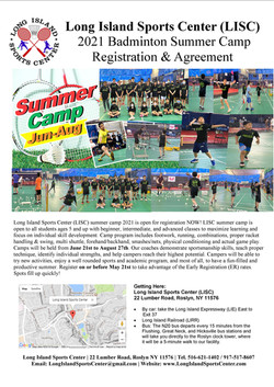 LISC Badminton Summer Camp 2021