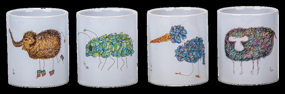 Set of 4 Doodle Mugs